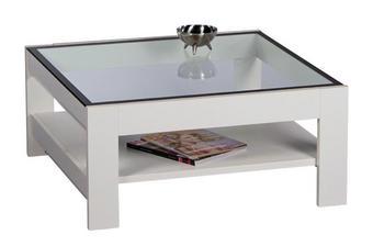 COUCHTISCH quadratisch Schwarz, Weiß - Schwarz/Weiß, Design, Glas (80/80/37cm) - Carryhome