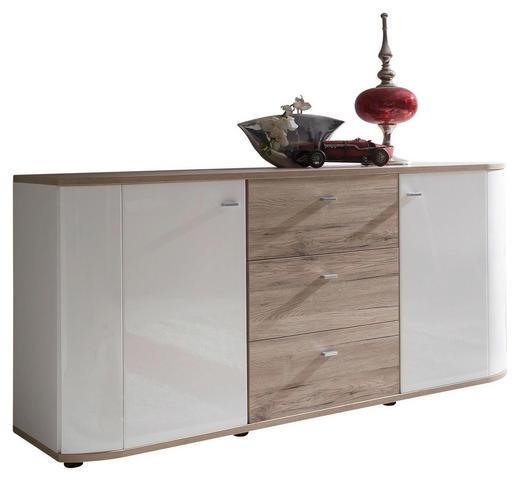 SIDEBOARD Melamin Eichefarben, Weiß - Eichefarben/Silberfarben, Design, Holzwerkstoff/Kunststoff (170/82/43cm) - Carryhome