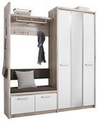 GARDEROBE - Dunkelgrau/Eichefarben, Design, Holzwerkstoff/Textil (179/200/40cm) - VOLEO