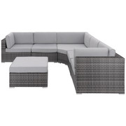 LOUNGEGARNITUR 21-teilig - Hellgrau/Grau, Design, Kunststoff/Textil (260/260cm) - AMBIA GARDEN