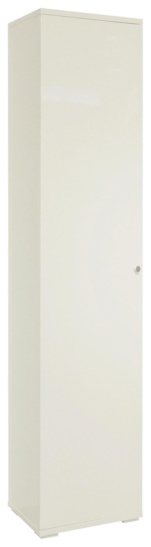 SCHUHSCHRANK Hochglanz, lackiert Weiß - Chromfarben/Weiß, Design, Holzwerkstoff/Metall (40/197/37cm) - Xora