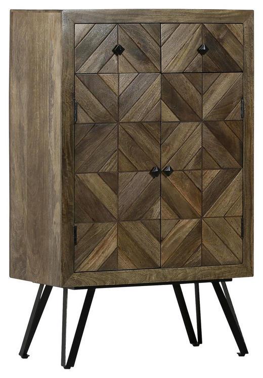 HIGHBOARD Mangoholz teilmassiv gebeizt, lackiert Braun - Schwarz/Braun, LIFESTYLE, Holz/Holzwerkstoff (80/127/40cm) - Carryhome