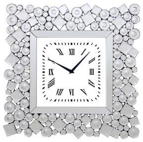VÄGGKLOCKA - klar/silver, Design, glas/träbaserade material (49/49/4,5cm) - Ambia Home