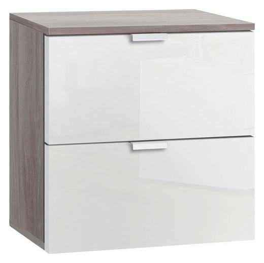 NACHTKÄSTCHEN Eichefarben, Weiß - Eichefarben/Alufarben, Design, Metall (40/42/42cm) - Carryhome