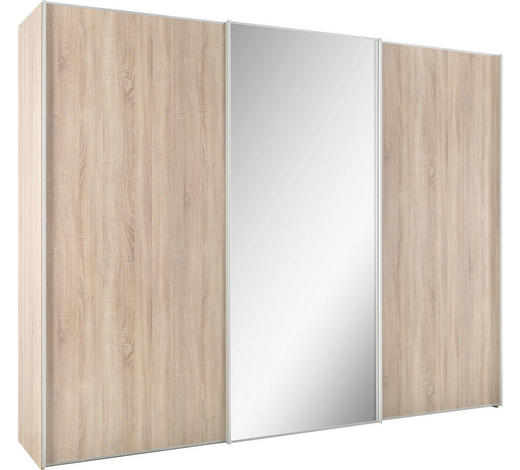SCHWEBETÜRENSCHRANK in Sonoma Eiche  - Alufarben/Sonoma Eiche, Design, Glas/Holzwerkstoff (298/240/68cm) - Moderano