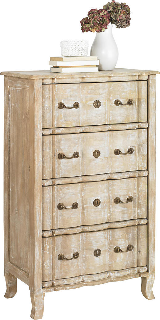 KOMMODE Mangoholz teilmassiv Weiß - Messingfarben/Weiß, Trend, Holz/Metall (65/110/40cm) - Ambia Home