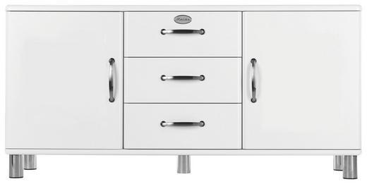 SIDEBOARD lackiert, Melamin Weiß - Weiß/Nickelfarben, Design, Holzwerkstoff/Metall (150/73/41cm) - Carryhome