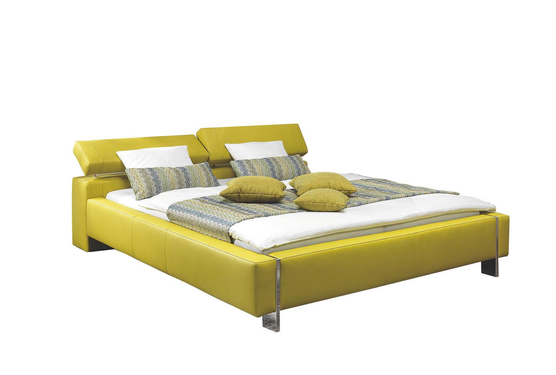 BETT 180/200 cm - Gelb/Alufarben, Design, Leder/Metall (180/200cm) - XORA