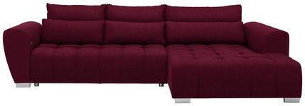 WOHNLANDSCHAFT in Textil Rot  - Silberfarben/Rot, MODERN, Kunststoff/Textil (304/218cm) - Carryhome