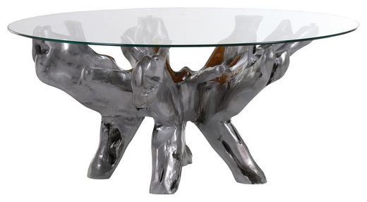 COUCHTISCH Teakholz massiv rund Silberfarben - Silberfarben, Design, Glas/Holz (110/46cm) - Carryhome