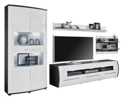 WOHNWAND Graphitfarben, Weiß - Silberfarben/Graphitfarben, Design, Glas/Holzwerkstoff (333/193/53cm) - Xora