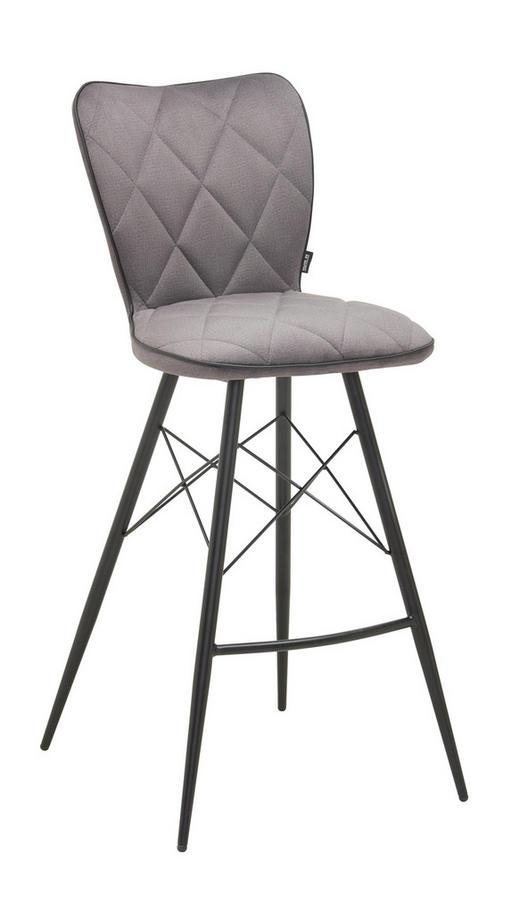 BARHOCKER in Grau, Schwarz - Schwarz/Grau, Design, Textil/Metall (43,5/106,5/53cm) - Hom`in