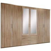 KLEIDERSCHRANK in Eichefarben  - Eichefarben/Alufarben, KONVENTIONELL, Glas/Holzwerkstoff (270/210/58cm) - Carryhome