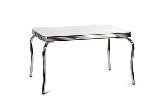 ESSTISCH Weiß - Chromfarben/Weiß, Design, Metall (120/80/75cm) - Carryhome