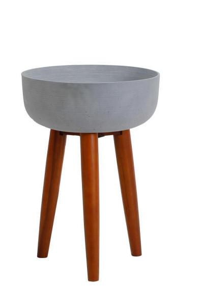 PFLANZENSCHALE Holz, Stein - Zwetschgeholzfarben/Grau, Holz/Stein (40/56,5cm)
