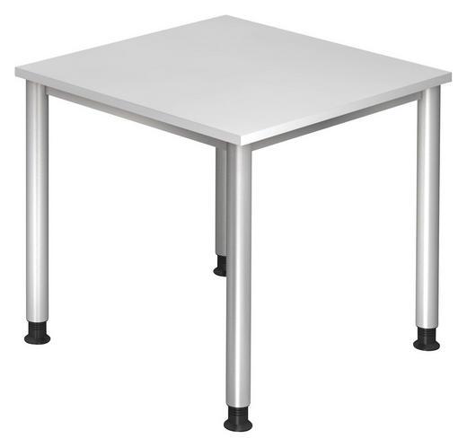 SCHREIBTISCH Silberfarben, Weiß - Silberfarben/Weiß, KONVENTIONELL, Metall (80/68-76/80cm)