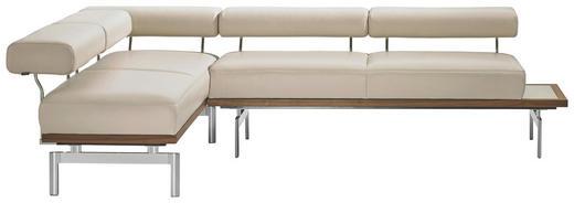 ECKBANK Echtleder Nussbaum Grau, Nussbaumfarben - Nussbaumfarben/Grau, Design, Leder/Metall (190/266cm) - Joop!