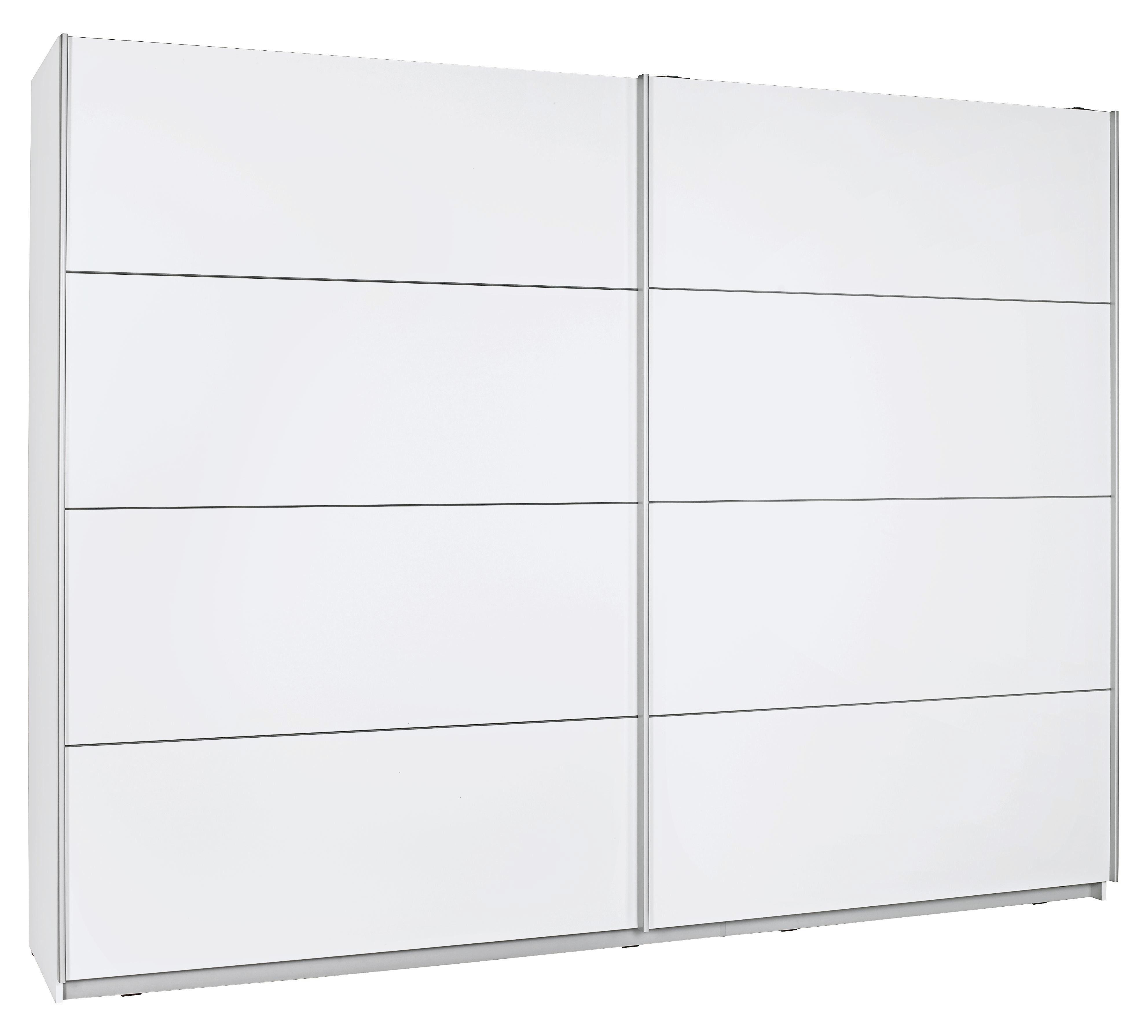 SKJUTDÖRRSGARDEROB - vit/silver, Design, metall/träbaserade material (270/210/61cm) - Low Price