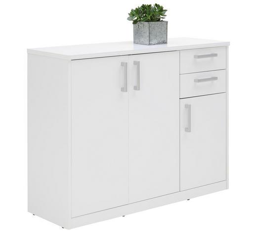 KOMODA, bílá - bílá/barvy stříbra, Konvenční, kov/kompozitní dřevo (106/84/36cm) - Xora