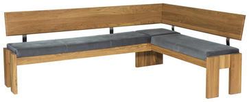 ECKBANK in Holz, Textil Edelstahlfarben, Eichefarben, Grau - Edelstahlfarben/Eichefarben, Natur, Holz/Textil (192/167cm) - Voleo