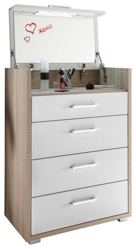 SCHMINKKOMMODE - Silberfarben/Weiß, Design, Glas/Holzwerkstoff (65/90/40cm) - Xora