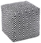 POUF Ornament Schwarz, Weiß - Schwarz/Weiß, Basics, Textil (40/40/40cm) - Novel