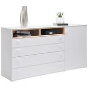 KOMMODE - Eichefarben/Silberfarben, Design, Holzwerkstoff/Kunststoff (180,4/92,8/43cm) - Hom`in