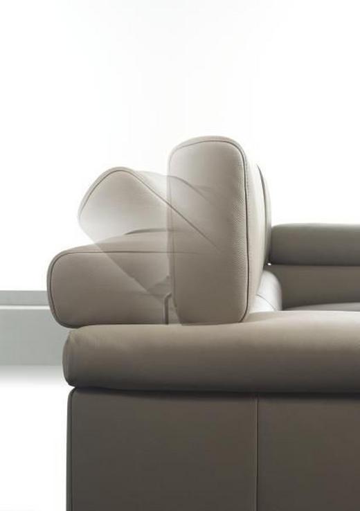 WOHNLANDSCHAFT Echtleder - Chromfarben/Beige, Design, Leder/Metall (246/296cm) - EWALD SCHILLIG BRAND