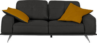 ZWEISITZER-SOFA Mikrofaser Anthrazit  - Chromfarben/Currygelb, Design, Textil/Metall (194/86/100cm) - Hom`in