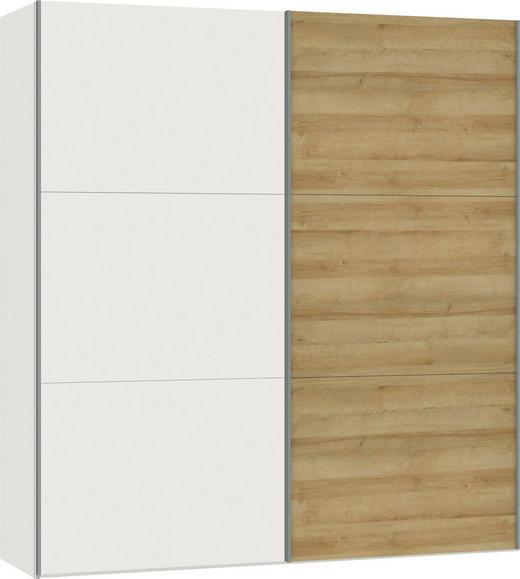 SCHWEBETÜRENSCHRANK 2-türig Eichefarben, Weiß - Eichefarben/Silberfarben, Design, Holzwerkstoff/Metall (202,5/220/65cm) - Jutzler