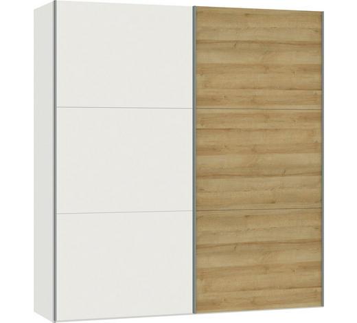 SCHWEBETÜRENSCHRANK in Weiß, Eichefarben - Eichefarben/Silberfarben, Design, Holzwerkstoff/Metall (202,5/220/65cm) - Jutzler