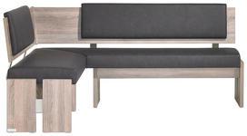 ECKBANK in Holzwerkstoff, Textil Anthrazit, Eichefarben - Eichefarben/Anthrazit, KONVENTIONELL, Holzwerkstoff/Textil (150/190cm) - Venda