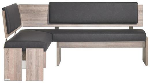 ECKBANK Lederlook Eiche Anthrazit, Eichefarben - Eichefarben/Anthrazit, KONVENTIONELL, Holzwerkstoff/Textil (150/190cm) - Venda