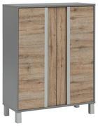 MIDISCHRANK Eichefarben, Grau - Eichefarben/Silberfarben, Design, Holzwerkstoff/Metall (77,5/103,5/33,5cm) - Stylife