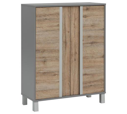 MIDISCHRANK 77,5/103,5/33,5 cm - Eichefarben/Silberfarben, Design, Holzwerkstoff/Metall (77,5/103,5/33,5cm) - Stylife