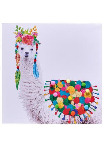 Tiere KEILRAHMENBILD Lama  - Multicolor/Naturfarben, LIFESTYLE, Holz/Textil (60/60cm) - Monee