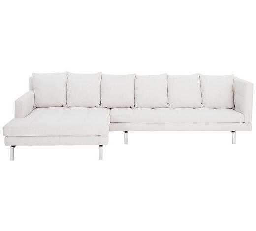 WOHNLANDSCHAFT in Textil Weiß - Chromfarben/Weiß, Design, Textil/Metall (161/315cm) - Brühl