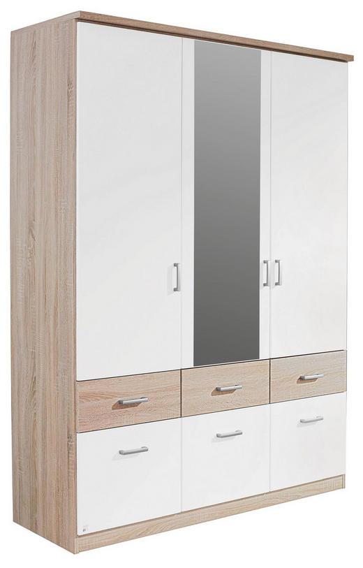 KLEIDERSCHRANK 3-türig Eichefarben, Weiß - Eichefarben/Silberfarben, Design, Holzwerkstoff/Kunststoff (136/199/56cm) - Carryhome