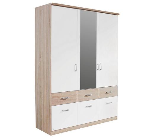 KLEIDERSCHRANK in Weiß, Sonoma Eiche - Silberfarben/Weiß, Basics, Glas/Holzwerkstoff (136/197/56cm) - Boxxx
