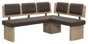 ECKBANK in Holzwerkstoff, Textil Braun, Eichefarben - Eichefarben/Braun, KONVENTIONELL, Holzwerkstoff/Textil (180/140cm) - Cantus