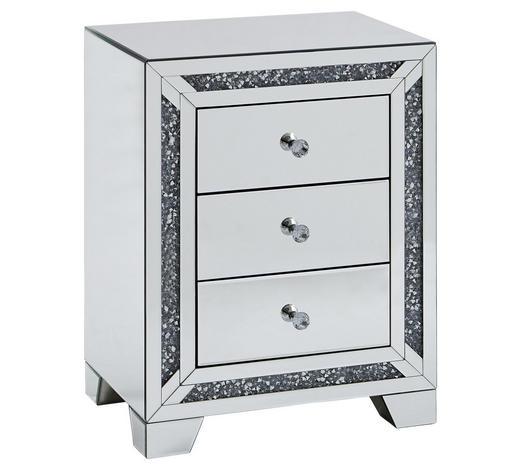KOMODA, barvy stříbra - barvy stříbra/čiré, Lifestyle, kov/kompozitní dřevo (50,5/66/35cm) - Xora