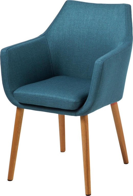 ARMLEHNSTUHL Webstoff Blau - Blau/Eichefarben, KONVENTIONELL, Holz/Textil (58/84/58cm) - Carryhome