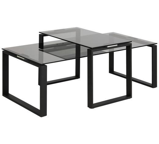COUCHTISCH in Metall, Glas 115/55/45 cm   - Schwarz, Trend, Glas/Metall (115/55/45cm) - Carryhome