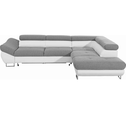 WOHNLANDSCHAFT Grau, Weiß Lederlook, Webstoff - Chromfarben/Weiß, Design, Textil/Metall (280/235cm) - Carryhome