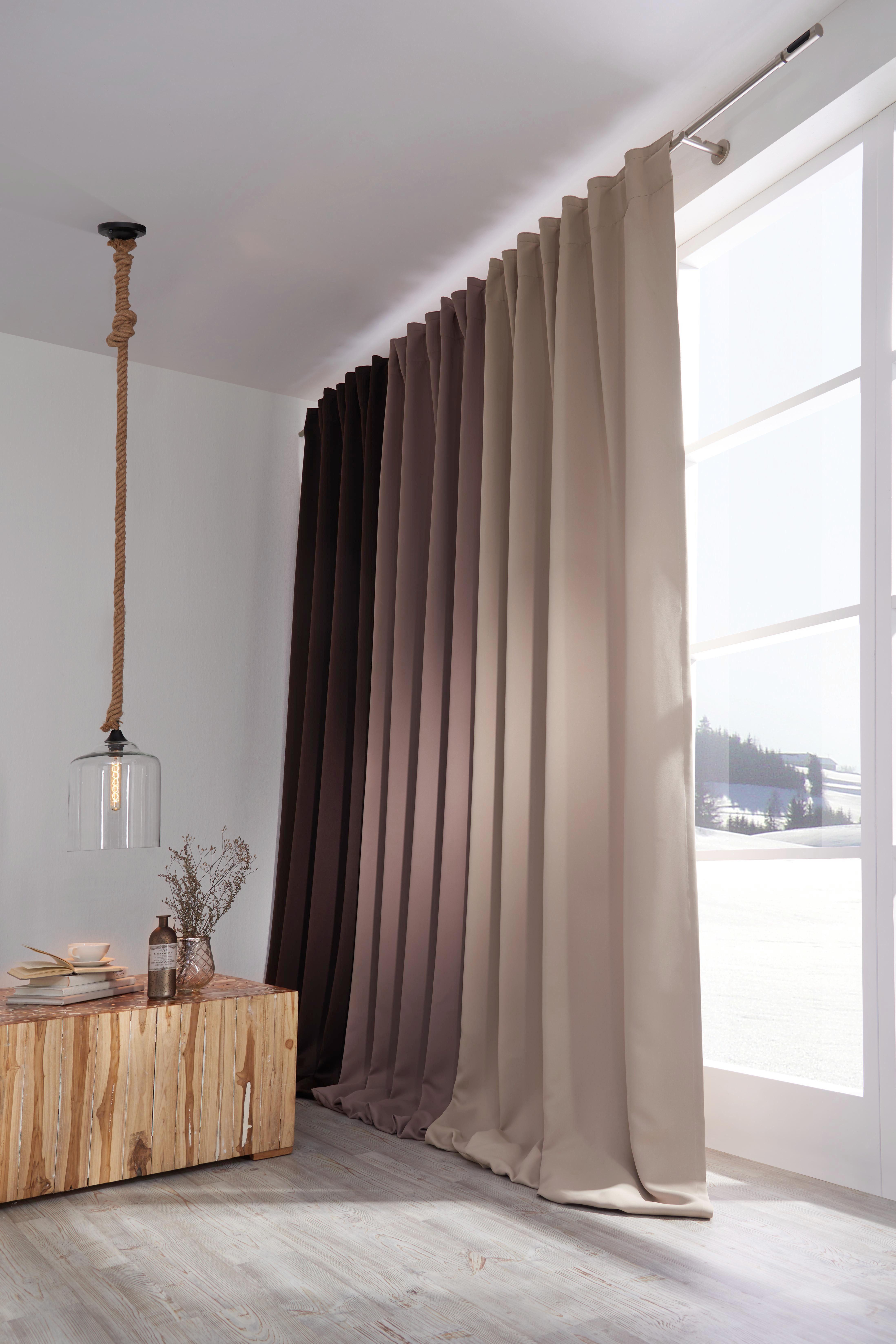 GARDINLÄNGD - mörkbrun, Basics, textil (140/300cm) - Esposa