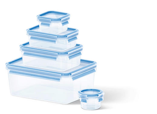 VORRATSDOSENSET 5-teilig - Blau/Transparent, Basics, Kunststoff