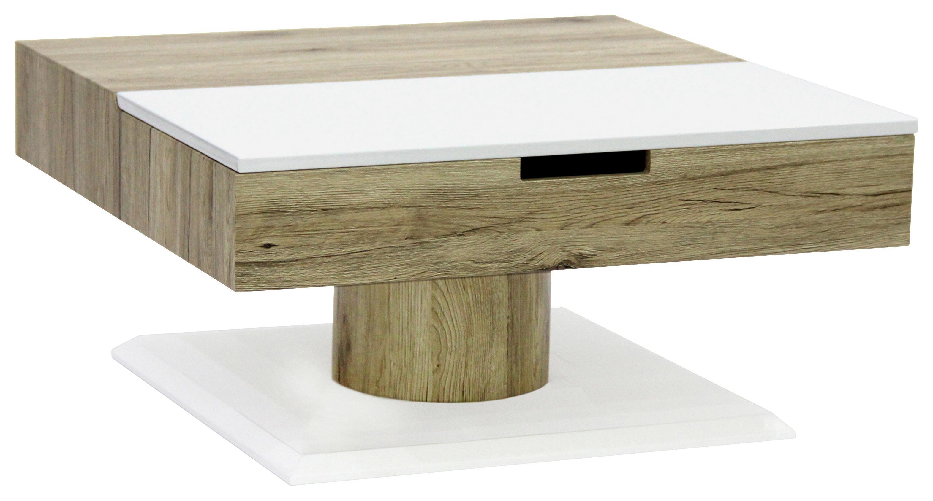 COUCHTISCH In Sonoma Eiche, Weiß   Weiß/Sonoma Eiche, Design, Holzwerkstoff  (