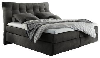 BOXSPRINGBETT 180/200 cm  INKL. Matratze, Topper - Anthrazit/Schwarz, Design, Kunststoff/Textil (180/200cm) - Esposa