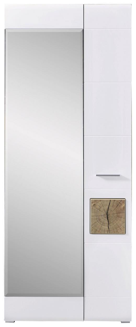GARDEROBNA OMARA bela, hrast - bela/hrast, Konvencionalno, umetna masa/steklo (80/201/37cm) - Voleo