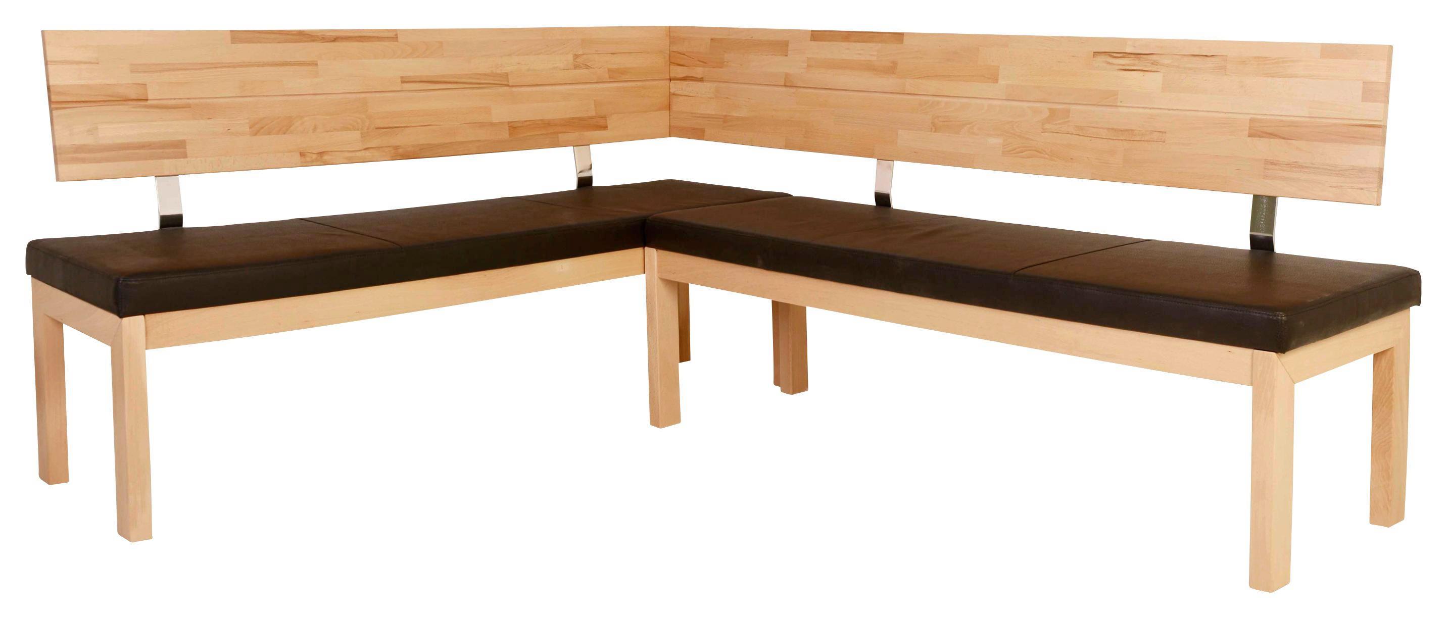 ECKBANK In Holz, Textil Braun, Buchefarben   Buchefarben/Braun, Natur, Holz